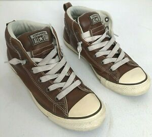 CONVERSE ALL STAR / CHUCK TAYLOR Leather Brown Mens 7.5 High Top Sneaker Shoes