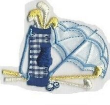 Gingham Blue Golf Clubs Cart Bag Umbrella Embroidery Applique Patch