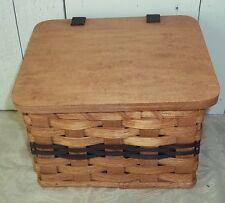 Handwoven Wooden Recipe Box with Lid Attached with Leather