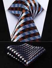 """TC706Z8S Brown Blue White Check 3.4"""" Silk Woven Men Tie Necktie Handkerchief Set"""