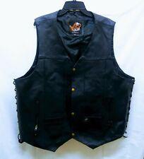 WILD WEAR Genuine Leather Black Motorcycle Vest 4XLPre-owned
