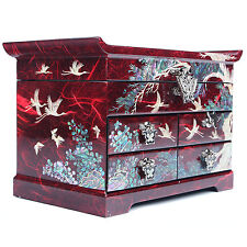 Jewelry boxes Mother Of Pearl Gift Boxes Handmade Korea Antique 4 Drawers Red