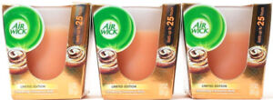 3 Air Wick Candles Limited Edition Glistening Cinnamon Rolls 25 Hours 3 Oz Each