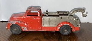 VINTAGE HUBLEY DIECAST KIDDIE TOY RED TOW TRUCK W/SWIVEL BOOM #452 original toy