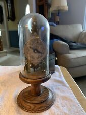 Vintage Dome Glass Cased Clock Runs!Cool Skeleton Movement Very Unique Old