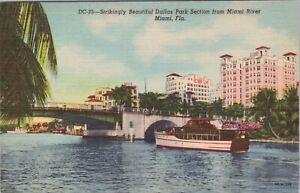 Linen postcard, passanger boat, Dallas Park from Miami River, Miami , Florida