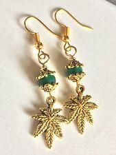 Marijuana Leaf,Pot Earrings With Green Aventurine Stone Bead Gold Tone