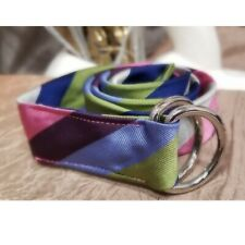 100% Silk Belt Diagonal Striped Navy Blue Pink Green Silver Double Ring Buckle