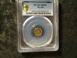 1866 PCGS MS 64 Liberty Octagon California 1/2 Fractional Gold BG-903 Semi PL