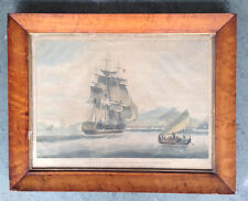 ANTIQUE MARITIME ART Ship J.W. Huggins Sir David Scott Engraving Edward Duncan