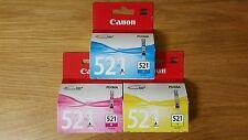 3x GENUINE ORIGINAL CANON CLI 521 CLI-521 Cyan Magenta Yellow mx870mp630
