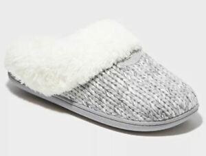Dluxe by Dearfoams Women's Carol Scuff Slide Slipper Gray - SIZE XL (11/12)