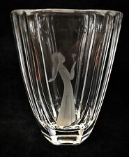 Beautiful Etched Orrefors Crystal Vase Maiden Holding A Flower - Signed