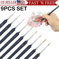 9PCS SET Miniature Paint Brush Set Hair Fine Detail Art Nail Professional Weasel