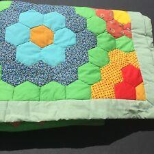 """Grandmother Flower Garden Quilt Twin 72"""" x 91"""""""