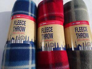 Fleece Throw/Blanket   New, Warm, Soft, Tartan Design in 3  colours