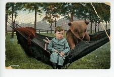 """Contented"" Boy in Hammock with Giant Teddy Bear PC Rare Antique AS-IS 1910s"