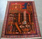 Rear Antique Classic Afghan hand made war rug showing jets, tank, weapons .