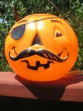 Vintage Blow Mold Plastic Halloween Jack O Lantern Mustache Pirate Candy Bucket