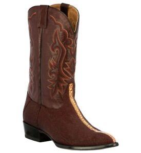 Mens Western Cowboy Boots Burgundy Stingray Exotic Skin J Toe Size 12 13