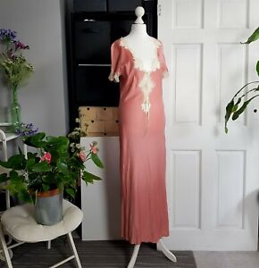 VINTAGE 80s 100% rose pink cotton maxi night dress with delicate lace SIZE UK 10