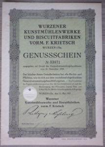 Aktie, Genussschein, Wurzener Kunstmühlenwerke u. Biscuitfabriken (Art.3219)