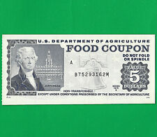 1979 B Food Stamp Coupon SERIAL# B75293162M M/C A $ $5  US Dept Of Agriculture