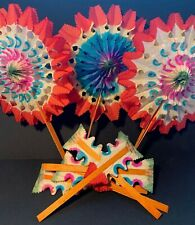 5 Vibrant Vintage and Eternally Reusable 1950s Paper Fan Decorations 15cm Made i