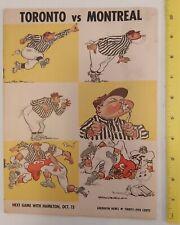 "RARE ""CFL- TORONTO ARGONAUTS VS MONTREAL ALOUETTES"" FOOTBALL PROGRAM-OCT.4,1958"