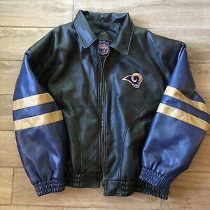 St. Louis Rams NFL Mens XL Black Faux Leather Bomber Jacket Game Day