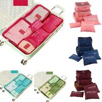 6 Pcs Waterproof Clothes Socks Packing Cube Storage Travel Luggage Organizer Bag