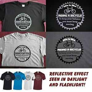 Reflective - Life is like riding a bicycle. Albert Einstein Cycling bick T Shirt