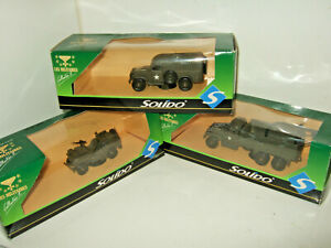 X3 Solido Les Militaires,Fighting Vehicles, Jeep or Trucks Diecast Models Boxed