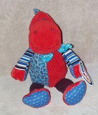 "Mary Meyer Motley Zoo Dino Plush Toy Red Blue Dot Stripe Corduroy Dinosaur 12"""