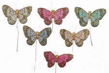 "24 2"" Feather Butterfly Artificial Pastel Floral Feather Fake Butterflies BF2222"