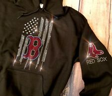 New Women's Boston Red Sox Hoodie Sweatshirt size Large Rhinestones Bling