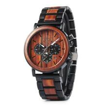 Luxury Steel and Wood with Multi-function Chronograph Mens Wrist Wood Watch