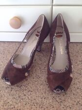 ERNESTO ESPOSITI BROWN/SNAKESKIN LEATHER PEEP TOE SHOES UK SIZE 5 WORN ONCE