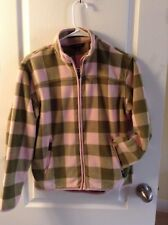 Women's Lands' End long sleeve zip up sweater PINK PLAID jacket fleece M 10 - 12