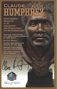 Claude Humphrey Atlanta Falcons Football Hall Of Fame Autographed Bust Card