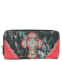 HOT PINK MOSSY CAMO RHINESTONE CROSS ZIPPER WALLET COUNTRY WESTERN WRIST STRAP