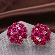 #1268 Girls Elegant Rose Flower Crystal Rhinestone Ear Stud Wedding Earring
