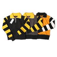 BOB DONG Moto Biker Style Heavyweight Fabric Men's 1/2 Zipper Striped Sweatshirt