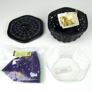 NWT Longaberger 2009 SPIDER WEB Basket Halloween Combo Set Lid, Protector, Liner