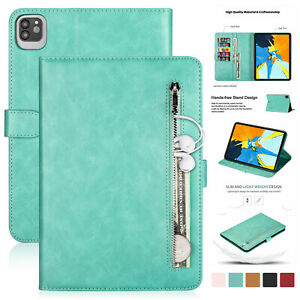 Zipper Leather Wallet Stand Case For iPad 9.7'' 5/6th Gen iPad 234 Air 10.5 Mini