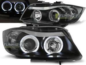Paire de feux phares BMW serie 3 E90 / E91 05-08 angel eyes noir
