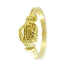 Anello fede sarda Maninfide oro giallo con guantino lavorato Artigianato sardo