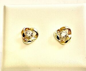 9ct MULTI-COLOUR GOLD KNOT EARRINGS WITH C/Z
