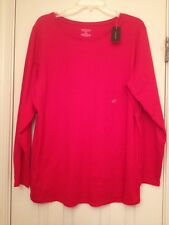 Red long sleeve tee NWT 18/20 Lane Bryant crewneck Plus Size DIY Blank 1x 2x