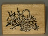 """PSX Rubber Stamp Wicker Basket Tulips Daffodils Wood Mount 2"""" x 1.5"""""""
